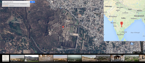 Golconda-fort-map-google-inset