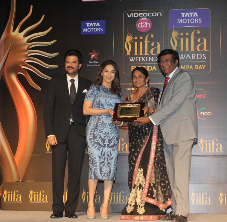 Anil Kapoor,Madhuri Dixit Nene,Dr Pallavi Patel,Dr Kiran Patel at the IIFA announcement at the US Consulate in Mumbai